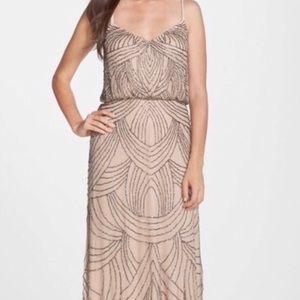 Adrianna Papell Art Deco Beaded Blouson Gown